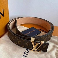 LV Louis Vuitton Classic Presbyopia Checkerboard Belt Letter Buckle Belt