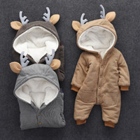 Baby Rompers Winter Thick Climbing Clothes Newborn Boys Girls Warm Romper Knitted Sweater Christmas Deer style Hooded Outwear