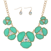 Gold Tone Necklace and Earring Set featuring Mint Green