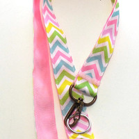 Pastel, Multicolored Chevron Ribbon Lanyard, Key Holder, ID Holder
