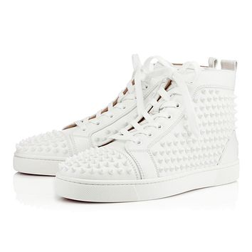 Christian Louboutin CL Louis Spikes Men's Flat White/white Leather Classic Sneakers Online