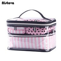 4Pcs PVC Cosmetic Bag Women's Pink Travel Clear Organizador Bags Waterproof Transparent Wash Organizer Pouch Beauty Makeup Case
