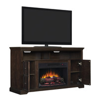 Shop Style Selections 56.5-in W 4,600-BTU Buxton Brown Wood Fan-Forced Electric Fireplace with Thermostat and Remote Control at Lowes.com