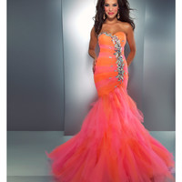 Mac Duggal Prom 2013-Orange Candy Ruffle With Embellishments - Unique Vintage - Cocktail, Pinup, Holiday & Prom Dresses.
