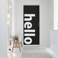 HELLO word minimal vinyl wall decal for your personal nursery, bed room and living room decoration