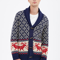 Reindeer Shawl Cardigan Navy/Cream
