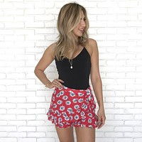 Girasole Rosso Floral Shorts