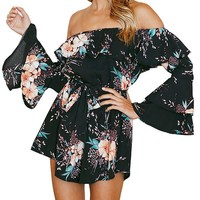 Ruffles Off Shoulder Long Flare Sleeve Women Rompers Beach Party Floral Print Playsuits Jumpsuits