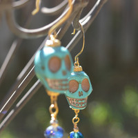 Turquoise Skull Dangle Earrings
