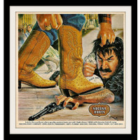 """1980 Nocona Western Boots Ad """"Outlaw Robber Art"""" Vintage Advertisement Print"""