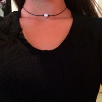 Leather Choker With Pearl