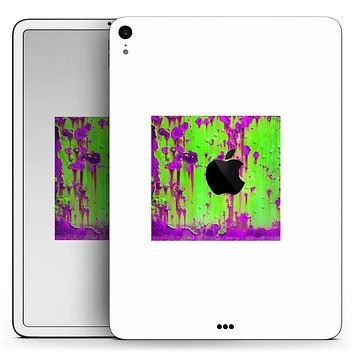 "Lime Green Metal with Hot Purple Rust - Full Body Skin Decal for the Apple iPad Pro 12.9"", 11"", 10.5"", 9.7"", Air or Mini (All Models Available)"