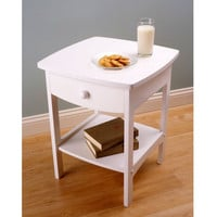 White Wood Contemporary 1-Drawer Bedside Table Nightstand
