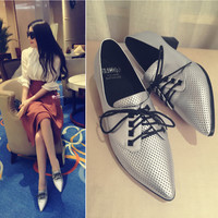 Summer Pointed Toe With Heel Stylish Fashion Leather Shoes [6050462401]