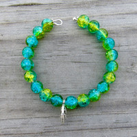 Blue Green Crackle Beads Lotus Charm Yoga Bracelet Boho Chic by The Wild Willows