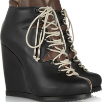 Pierre Hardy | Lace-up leather wedge ankle boots | NET-A-PORTER.COM