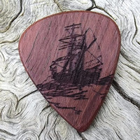 Handmade Purpleheart Premium Wood Guitar Pick -  Laser Engraved - Actual Pick Shown - Engraved Both Sides  - Nautical Themed Pick