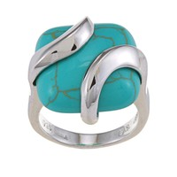 Glitzy Rocks Sterling Silver Square Turquoise Ring | Overstock.com