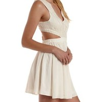 Ivory Cut-Out Crocheted Lace Skater Dress