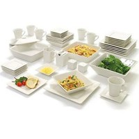 45 Piece White Dinnerware Set Square Banquet Plates Dishes Bowls Kitchen Dinner