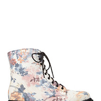 Floral Frenzy Combat Boots