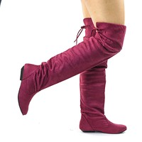 Tammy Foldable Knee High Flat Boots w Rear Lace Tie