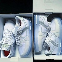 Nike autumn and winter new AF1 white ice blue 3M reflective air force No. 1 sneakers for men and women all-match sports shoes