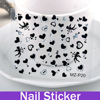 HOT! Cartoon Element Nail Stickers nail stamps 3d nail Cupid with hearts