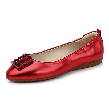 Pointed Toe Flats with Square Buckle Loafers Ballet Women Shoes