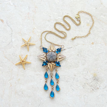 Sea Urchin Necklace Blue Gold Plated Vintage Telkari (Ooak)