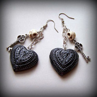 Skull Key and Black Heart Earrings Goth Dia de los Muertos