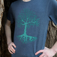 Tree TShirt, Mens Graphic Tee, Gifts for Guys, Hiker Shirt, Hiking, Mens Tree Tshirts, Nature TShirt, Tree Roots Tee, Heather Navy