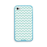 Shawnex Mint Chevron Aqua Silicon Bumper iPhone 4 & 4S Case - Fits iPhone 4 & 4S