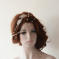 Bridal Hair Accessories, Rhinestone and Pearl Headband, Wedding hair Accessory, Hair Wrap Headband