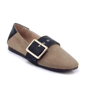 Women's Loafers Square Head  Flats Shoes