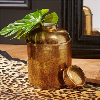 Golden Shagreen Glazed Tea Canister With LId