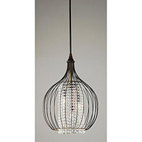 Indoor 3-light Copper/ Crystal Pendant Chandelier | Overstock.com