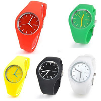 Women Men Unisex Fashion Summer Candy Color Round Dial Quartz Analog Jelly Silicone Wrist Watches with 7 colors = 1958770308