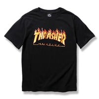 Thrasher Hip-Hop Short Sleeve Shirt Top Tee