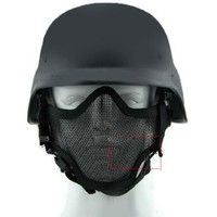 2 in 1 Protection Steel Face Mask + M88 Airsoft Paintball PASGT Swat Helmet Set Black