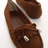 Camel Faux Suede Moccasin Flats