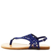 Bamboo Laser Cut-Out Slingback Thong Sandals - Blue