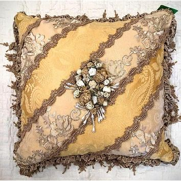 Romantic Victorian Gold & Ivory Cameo Lace Rose Adorned Square Pillow