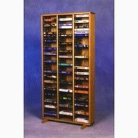 Wood Shed Solid Oak Tower for VHS Tapes (Individual Locking Slots)
