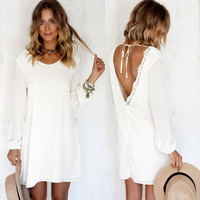Boho Sexy Women Long Sleeve Backless Summer Beach Short Mini Dress