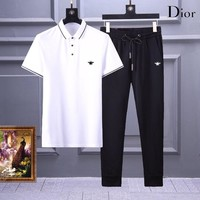 Dior Men and Women Fashion  Black Leisure Tracksuit Two Piece Suit Set