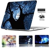"""POSEIT Print pattern Hard Case Cover for Macbook Air 11"""" 13  Pro 15  Retina 12"""" laptop case +Free Keyboard Cover and Dust Piug"""