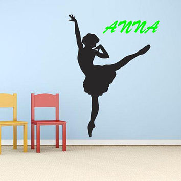 Ballet Dancer Wall Decal, Custom Name Wall Decal, Custom Name Decor, Personalized Girls Room, Dancing Girl Decal, Personalized Name,  nm056