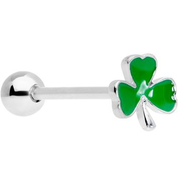 Green St Patricks Day Lucky Shamrock Barbell Tongue Ring