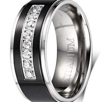 CERTIFIED 8mm Men's Black Titanium Wedding Band Ring with 8 Simulated CZ